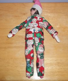 Christmas Elf doll pajama top and pants red and white with Mr and Mrs Santa Claus by on Etsy Christmas Elf Doll, Pajama Top, Red And White, Pajamas, Santa, Dolls, Etsy, Clothes, Outfit