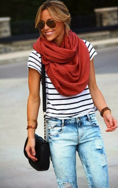 Ripped Jeans With Infinity Scarf and Stripes