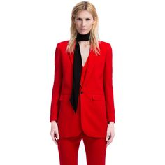 Costume National Blazer Lungo in Misto Lana (25.420 RUB) ❤ liked on Polyvore featuring outerwear, jackets, blazers, rosso, red jacket, red blazer jacket, costume national, costume national jacket and blazer jacket