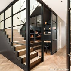 Basement joinery, stairs and home office. Crittall screens divide the room, with… – Home Theater Design Basics – Best Home Theater Design Ideas Home Theater Design, Home Office Design, Home Office Decor, Home Interior Design, Home Decor, Office Style, Office Ideas, Glass Stairs Design, Staircase Design
