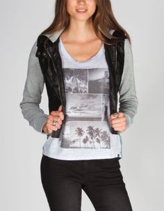 FULL TILT Fleece Sleeve Womens Faux Leather Jacket, super cute with skinny jeans and converses