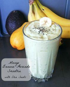 A smoothie! Mango Banana Avocado Smoothie with Chia Seeds. Yummy Smoothies, Breakfast Smoothies, Smoothie Drinks, Yummy Drinks, Healthy Drinks, Smoothie Recipes, Healthy Snacks, Yummy Food, Tasty