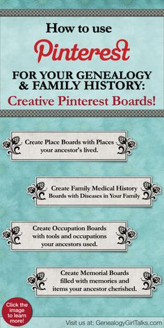 Creating Pinterest Boards for Genealogy by Genealogy Girl Talks. Click the pin to learn more!