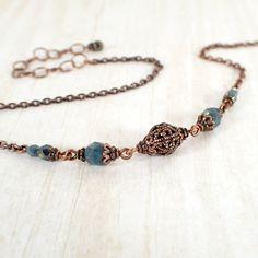 Collier chaîne en perles turquoise bleu et cuivre par ArdentHearts