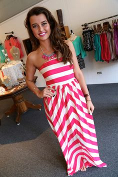 Cotton/polyester blended. Fuchsia/Cream striped dress. $42