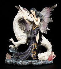 Weißer Drache mit Elfe in dunklem Kleid - Figur Dragon Fairy Statue Fantasy
