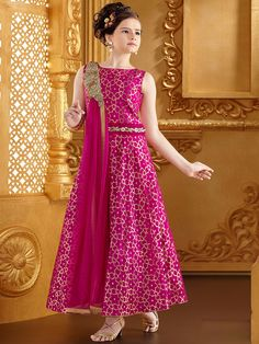G3 Exclusive Magenta Silk Wedding Wear Girls Anarkali Salwar Suit Wedding Dresses For Kids, Dresses Kids Girl, Kids Party Wear Dresses, Kids Outfits, Kids Frocks, Frocks For Girls, Kids Ethnic Wear, Baby Frocks Designs, Kids Lehenga