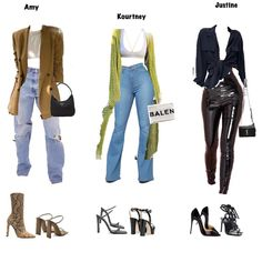 Who are you Amy, Kourtney or Justine? Stage Outfits, Kpop Outfits, Retro Outfits, Stylish Outfits, Fall Outfits, Fashion Outfits, Womens Fashion, Fashion Trends, Edgy School Outfits