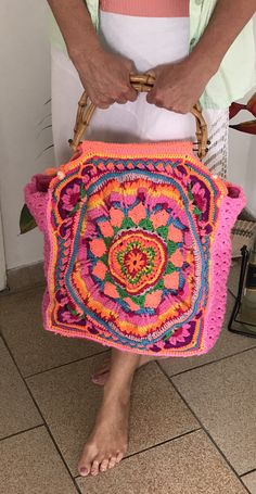 Crochet Mandela bag. Pink base.