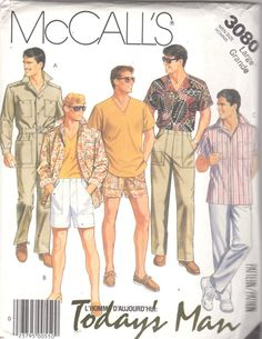 McCall's 3080 Mens unlined Jacket or Shirt, Top, Pants, Shorts and Belt Size: Medium Uncut Sewing Pattern Safari Shirt, Safari Jacket, 1980s Mens Fashion, Men's Fashion, Mens Clothing Trends, Today's Man, Fashion Illustration Vintage, Mens Cargo, Costume Shop