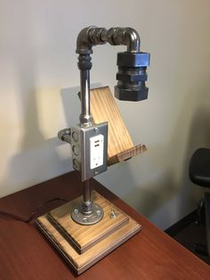 Industrial Lamp With Electrical And Usb Charging Outlet