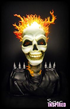 This amazing Ghost Rider Cake does a marvelous job of recreating Johnny Blaze's skull and burning hair. Beautiful Cakes, Amazing Cakes, Horror Cake, Scary Cakes, Pasteles Halloween, Sculpted Cakes, Holiday Cakes, Holiday Foods, Cupcake Cookies