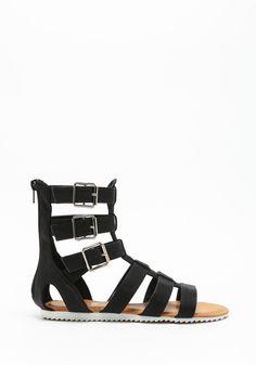 Black Gladiator Side Buckle Sandals - LoveCulture.com