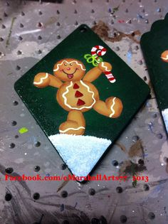 Gingerbread Christmas ornament. Tole painting