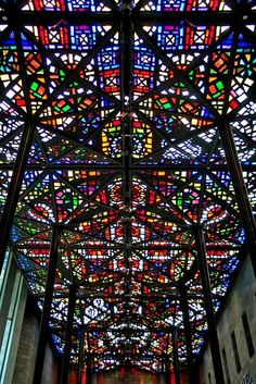 NGV International, Melbourne - Leonard French's stained-glass ceiling in the Great Hall. They have a fantastic kids area! My girls loved going here. Leaded Glass, Stained Glass Art, Stained Glass Windows, Mosaic Glass, Melbourne Art, Melbourne Australia, Melbourne Museum, Melbourne Architecture, Brisbane