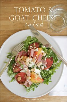The BEST Summer Salad : Heirloom Tomato, Marcona Almonds, Prosciutto & Goat Cheese Salad with an Easy Lemon Vinaigrette