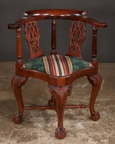 Chippendale Style Mahogany Corner Chair With Pierced Splat Back, Cabriole  Legs, Carved Knees And