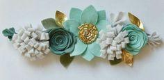 Felt Flower Crown // mint spruce and gold от BakerBlossoms на Etsy Felt Flowers, Diy Flowers, Fabric Flowers, Paper Flowers, Felt Headband, Silver Headband, Flower Headbands, Baby Headbands, Felt Hair Accessories