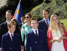Alois Hereditary Prince, Sophie Hereditary Princess, Prince Joseph Wenzel, Princess Marie Caroline, Prince Georg, Prince Nikolaus von und zu Liechtenstein during the national day on 15 Aug 2012 in Vaduz, Liechtenstein