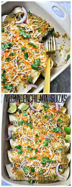This vegan take on enchiladas suizas is everything! Quick, healthy, protein filled and delicious! Creamy tomatillo sauce over black bean enchiladas! Tostadas, Tacos, Black Bean Enchiladas, Vegan Enchiladas, Delicious Vegan Recipes, Vegetarian Recipes, Healthy Recipes, Vegetarian Mexican, Tamales