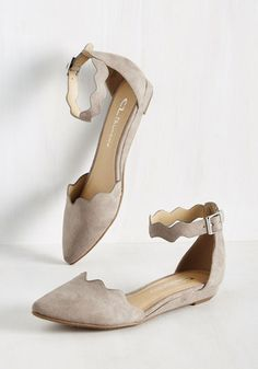 Spring, Stunner, Fall Flat in Tan - Grey, Solid, Scallops, Work, Minimal, Fall, Better, Wedge, Grey, Neutral, Faux Suede, Low