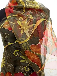 Brown Chiffon silk scarf Handpainted : this 71 long pure silk wrap is painted in dark chocolate brown and a fiery red tropical floral design with gentle greens to soften the drama of the red foliage and golden curls . A sheer transparent scarf Dark chocolate brown will add a gougeous touch of