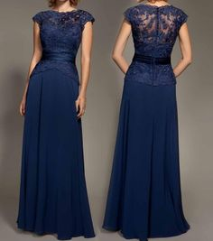Cheap Dark Navy Blue Lace Cap Sleeve Chiffon Floor-Length Evenig Gown Mother Of The Bride Dresses Pa on Luulla