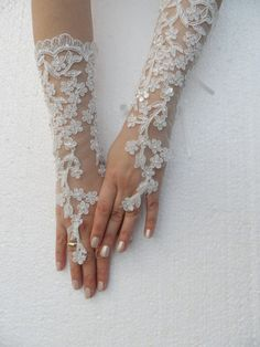 Wedding Glove ivory lace gloves Fingerless Glove by WEDDINGHome Wedding Attire, Wedding Bride, Dream Wedding, Wedding Dresses, Wedding Gloves, Bride Gloves, Lace Gloves, Fingerless Gloves, Romantic Wedding Colors