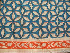 Geometric Pattern Hand Block Print Cotton Fabric by theDelhiStore