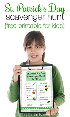 Patrick's Day Scavenger Hunt Looking for an idea for a fun activity to celebrate St. Patrick's Day with your kids? Enjoy this FREE printable St. Patrick's Day Scavenger Hunt game for Kids from Food Fun Family! St Patricks Day Spiele, St Patricks Day Food, Saint Patricks, Desserts Valentinstag, Easter Party Games, Toddler Party Games, Birthday Games, St Patricks Day Crafts For Kids, Party