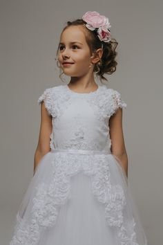 La Petite Lucy 'Audrey' Lace & Tulle First Communion & Flower Girl Dress Communion Dresses, First Communion, Lace Overlay, Designer Dresses, Bodice, Flower Girl Dresses, Satin, Wedding Dresses, Beautiful
