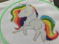 A cross stitch pattern of a unicorn for you to stitch! With colourful rainbow hair and gentle yellow markings, this pattern will make a whimsical addition to your cross stitch collection. Please note, this is for the digital pattern only. Download is in pdf format. Pattern