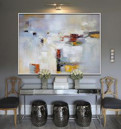 Handmade Large Painting, Original Art, Large Canvas Art. Contemporary Art, Modern Art Abstract Painting. Orange, blue, yellow, red, green.
