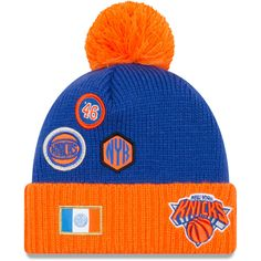 f475bc53224 New York Knicks New Era Youth Draft Cuffed Knit Hat With Pom – Royal Orange
