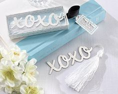 """Hugs & Kisses"" Silver-Finish Bookmark with Elegant White-Silk Tassel. For weddings, bridal showers, even for the grad! Comes in a gift box. Part of our Hugs & Kisses collection. Wedding Favors And Gifts, Elegant Wedding Favors, Personalized Wedding Favors, Unique Weddings, Wedding Ideas, Wedding Inspiration, Wedding Details, Wedding Venues, Party Favours"