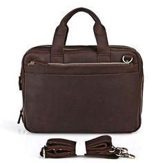"""Vintage Handmade Crazy Horse Leather Briefcase Messenger 15"""" MacBook / 14"""" Laptop Bag"""