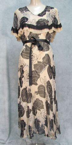 1920-1929 DRESS CHIFFON CAPE COLLAR GARDEN DRESS BLACK WHITE FLOWERS WEDDING #UNKNOWN