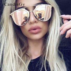 Cat Eye Mirror New Arrival Sunglasses Hot Sale Women Or Men UV400 aviation Mirror Sun Glasses Brand Design Rose Gold #Affiliate