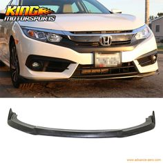 95.00$  Watch here - http://aliqvr.worldwells.pw/go.php?t=32785830357 - For 16-17 Honda Civic X 2/4Dr CS Style Front Bumper Lip Splitter Spoiler PU USA Domestic Free Shipping