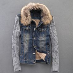 The trend of the new winter men 's knitted sleeves plus velvet thick denim jacket real fur collar denim jacket lovers/M XL-inJackets from Ap...
