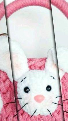 DIY handmade natural easter basket with bunny for girls. Crochet Baskets, Easter Crochet, Easter Baskets, Easter Bunny, Babyshower, Polish, Gift Ideas, Natural