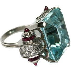 aquamarine and diamond decor | Cartier-style art deco aquamarine, diamond, ruby ring - Elle W ...