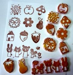 Rubber stamps made from erasers (Japanese crafts) - these are super cute ones!