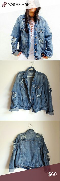 Custom handmade distressed ripped grunge bomber Custom Gap distressed bomber denim jacket. Size XL. Perfect to achieve a cool oversized fit. For reference I am xs/small. Material is 100% cotton. All the distressing is handmade with lots of love by me ? It is already cleaned and will look even cooler with every wash. One of a kind item. No trades Cool discounts on bundles Tags Retro grunge goth rip holes destroyed boxy jean jacket custom customised oneofakind handmade bomber dollskill nast