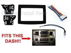 Black Dodge Ram Radio Stereo Double Din Dash Install Kit w/ Wiring Harness. For product info go to:  https://www.caraccessoriesonlinemarket.com/black-dodge-ram-radio-stereo-double-din-dash-install-kit-w-wiring-harness/