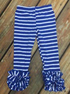 2T Blue and White Icing legging - Ruffled Legging