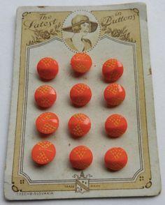 ButtonArtMuseum.com - Set on Original Card Vintage Glass Buttons Small Orange Yellow accent Czecho
