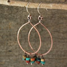 $36 - Turquoise Sunset Hoops - Copper & sterling silver hoops with turquoise & stone dangles - Maggie Connolly Designs