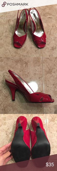 """Alfani Heels Red 2"""" heels, Man made material. Black scuff marks on left shoe. Purchased from Macy's. Alfani Shoes Heels"""