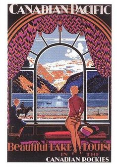 Beautiful Lake Louise Vintage Canadian Travel and Tourism Posters and Art from Enjoy Art. Canadian Pacific Railway, Canadian Travel, Canadian Rockies, Art Deco Posters, Poster Prints, Art Prints, Chateau Lake Louise, Train Posters, Tourism Poster